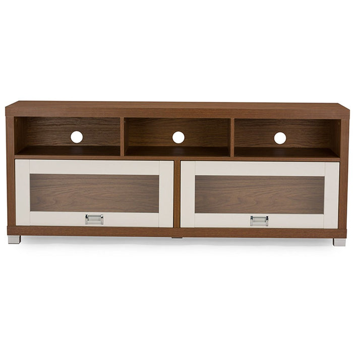 Baxton Studio Swindon Modern Two-tone Walnut and White TV Stand with Glass Doors Baxton Studio-TV Stands-Minimal And Modern - 1