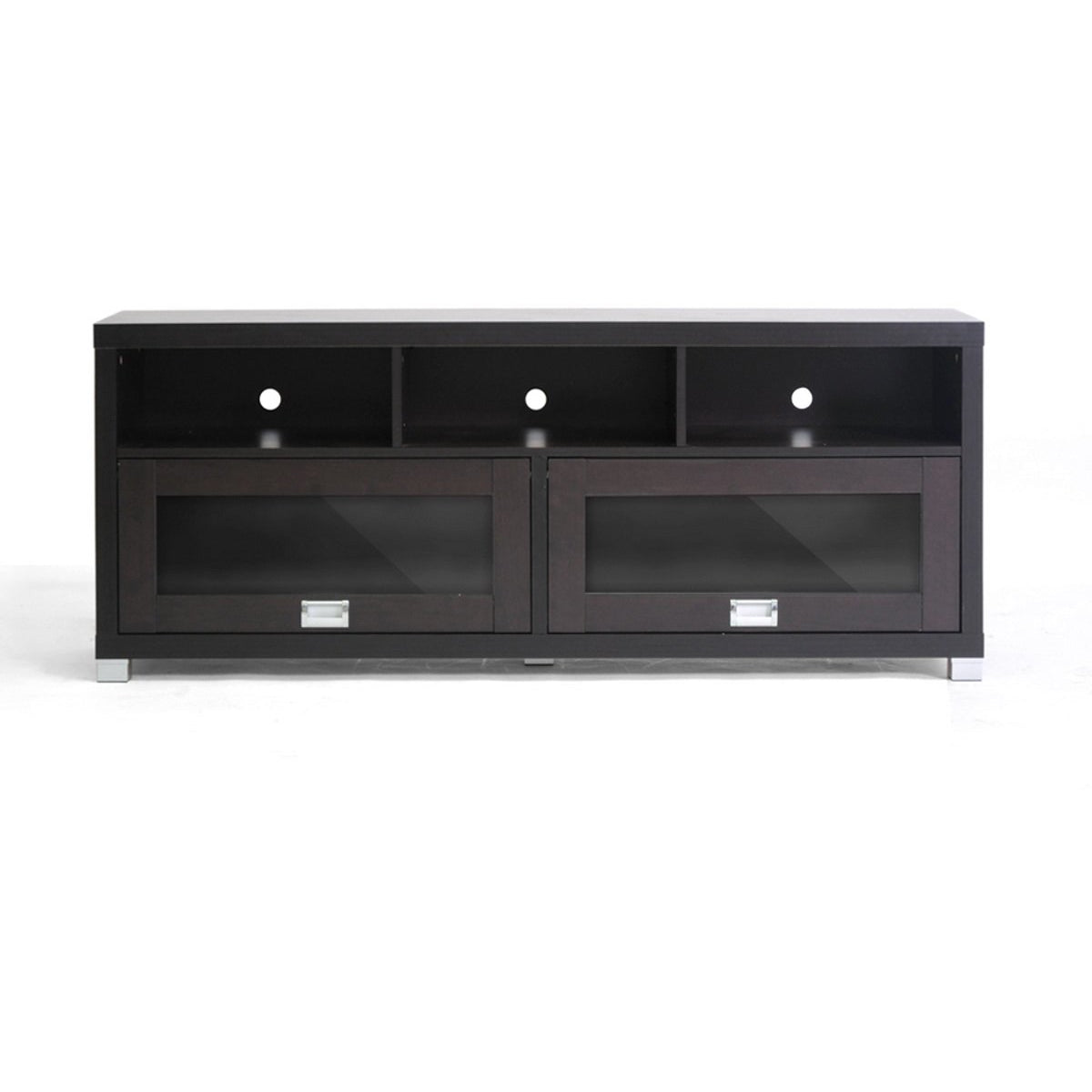 Baxton Studio Swindon Modern TV Stand with Glass Doors Baxton Studio-TV Stands-Minimal And Modern - 1