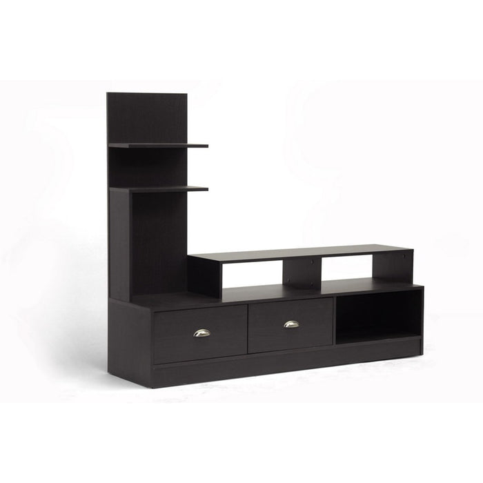 Baxton Studio Armstrong Dark Brown Modern TV Stand Baxton Studio-TV Stands-Minimal And Modern - 1