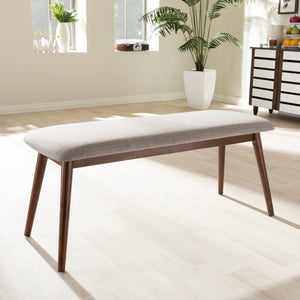 "Baxton Studio Flora Mid-Century Modern Light Grey Fabric and ""Oak"" Medium Brown Finishing Wood Dining Bench Baxton Studio-benches-Minimal And Modern - 1"