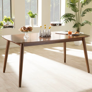"Baxton Studio Flora Mid-Century Modern ""Oak"" Medium Brown Finishing Wood Dining Table Baxton Studio-dining table-Minimal And Modern - 1"