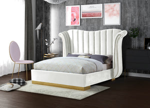 Meridian Furniture Flora White Velvet Queen Bed