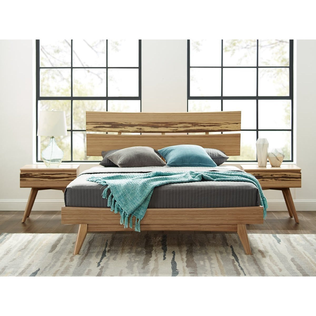 3pc Greenington Azara Modern Bamboo Platform California King Bedroom Set (Includes: 1 California King Bed & 2 Nightstands)-Minimal & Modern
