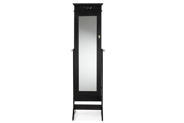 Baxton Studio Bimini Black Finish Wood Crown Molding Top Free Standing Full Length Cheval Mirror Jewelry Armoire Baxton Studio-Decorative Accessories-Armoire-Minimal And Modern - 1