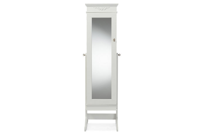 Baxton Studio Bimini White Finish Wood Crown Molding Top Free Standing Full Length Cheval Mirror Jewelry Armoire Baxton Studio-Decorative Accessories-Armoire-Minimal And Modern - 1
