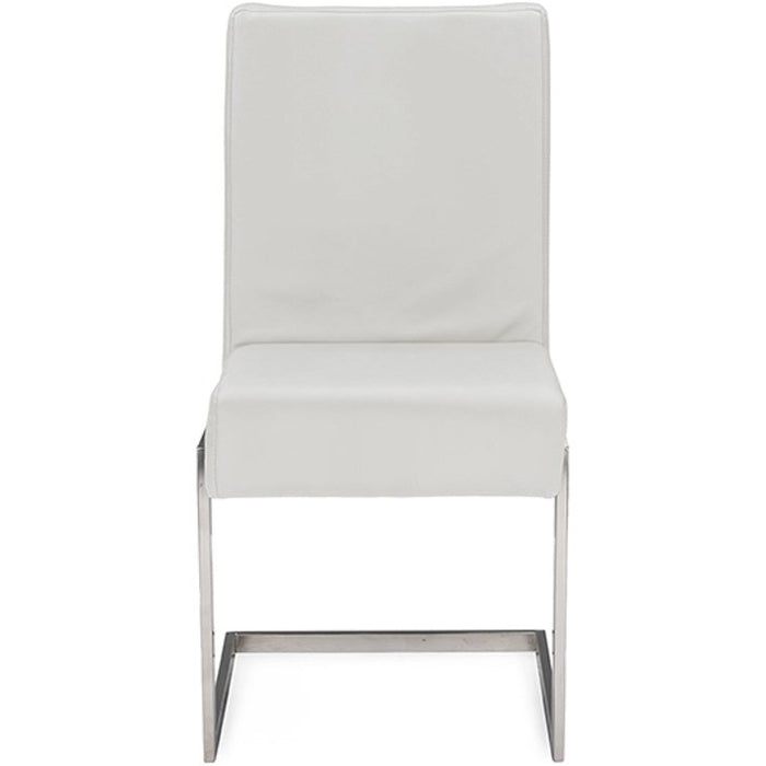 Baxton Studio Toulan Modern and Contemporary White Faux Leather Upholstered Stainless Steel Dining Chair (Set of 2) Baxton Studio-dining chair-Minimal And Modern - 1