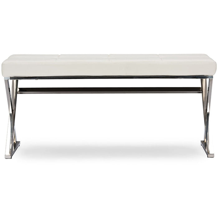 Baxton Studio Herald Modern and Contemporary Stainless Steel and White Faux Leather Upholstered Rectangle Bench Baxton Studio-benches-Minimal And Modern - 1