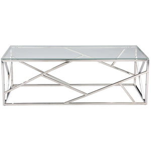 Baxton Studio Fiona Modern and Contemporary Stainless Steel Coffee Table with Tempered Glass Top Baxton Studio-coffee tables-Minimal And Modern - 1