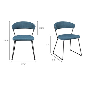 Moe's Home Collection Adria Dining Chair Blue-Set of Two - HK-1010-50