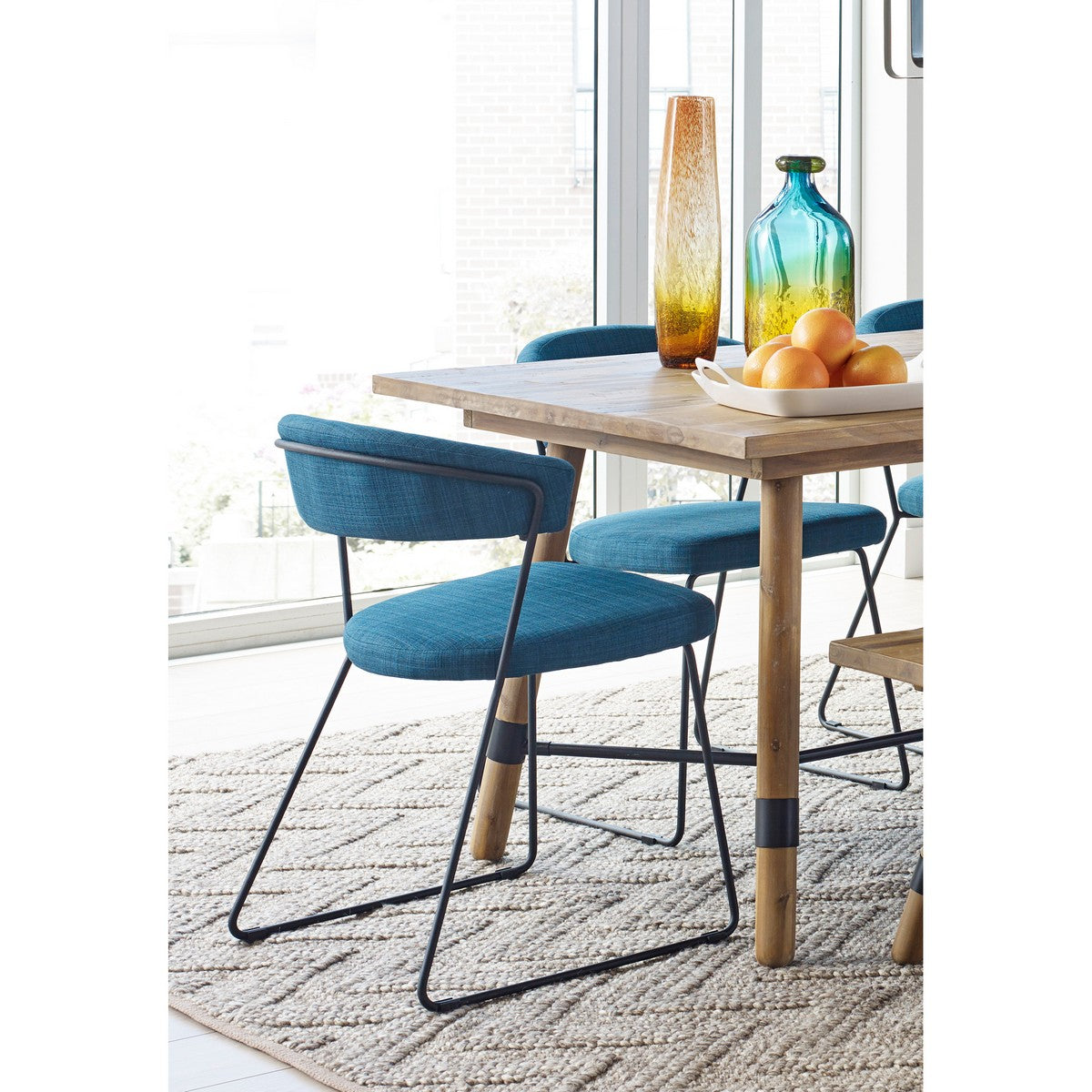 Moe's Home Collection Adria Dining Chair Blue-Set of Two - HK-1010-50 - Moe's Home Collection - Dining Chairs - Minimal And Modern - 1