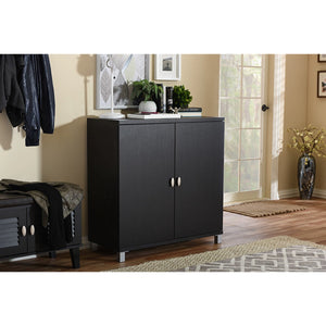 Baxton Studio Marcy Modern and Contemporary Dark Brown Wood Entryway Handbags or School Bags Storage Sideboard Cabinet Baxton Studio--Minimal And Modern - 5