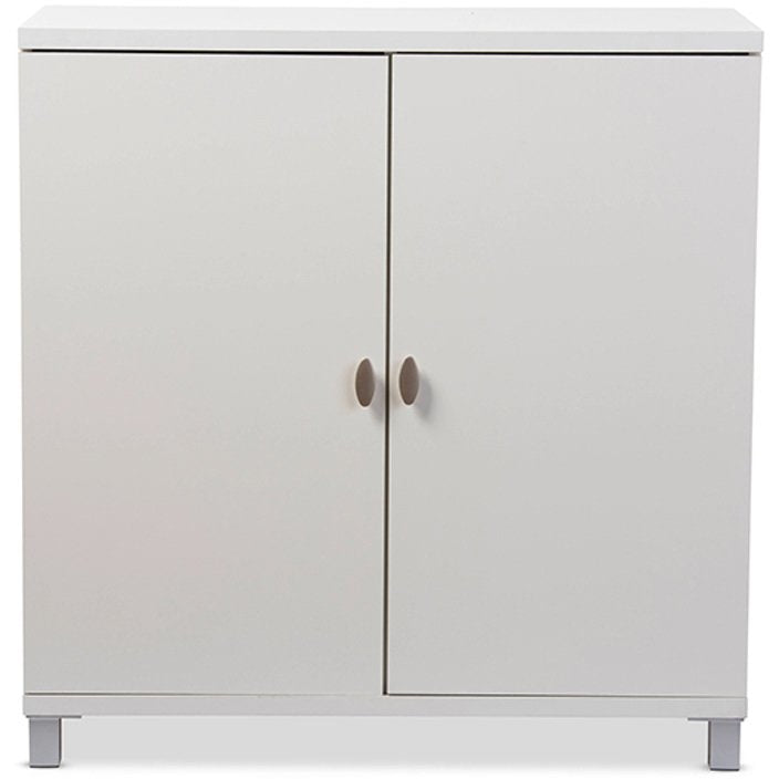 Baxton Studio Marcy Modern and Contemporary White Wood Entryway Handbags or School Bags Storage Sideboard Cabinet Baxton Studio--Minimal And Modern - 1