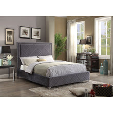 Meridian Furniture Hampton Grey Velvet King Bed-Minimal & Modern