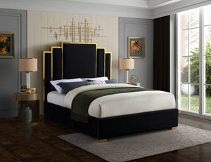 Meridian Furniture Hugo Black Velvet Queen Bed