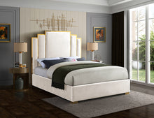 Meridian Furniture Hugo Cream Velvet King Bed