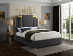 Meridian Furniture Hugo Grey Velvet Queen Bed