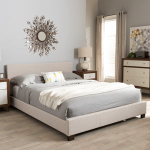 Baxton Studio Elizabeth Modern and Contemporary Beige Fabric Upholstered Panel-Stitched Full Size Platform Bed Baxton Studio-Full Bed-Minimal And Modern - 1