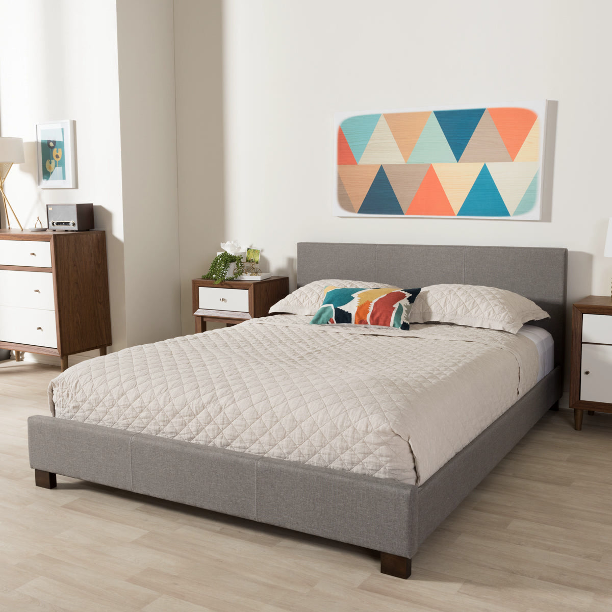 Baxton Studio Elizabeth Modern and Contemporary Grey Fabric Upholstered Panel-Stitched Queen Size Platform Bed Baxton Studio-Queen Bed-Minimal And Modern - 1