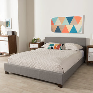 Baxton Studio Elizabeth Modern and Contemporary Grey Fabric Upholstered Panel-Stitched Full Size Platform Bed Baxton Studio-Full Bed-Minimal And Modern - 1
