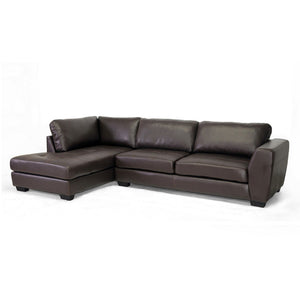 Baxton Studio Orland Brown Leather Modern Sectional Sofa Set with Left Facing Chaise Baxton Studio-sectionals-Minimal And Modern - 1
