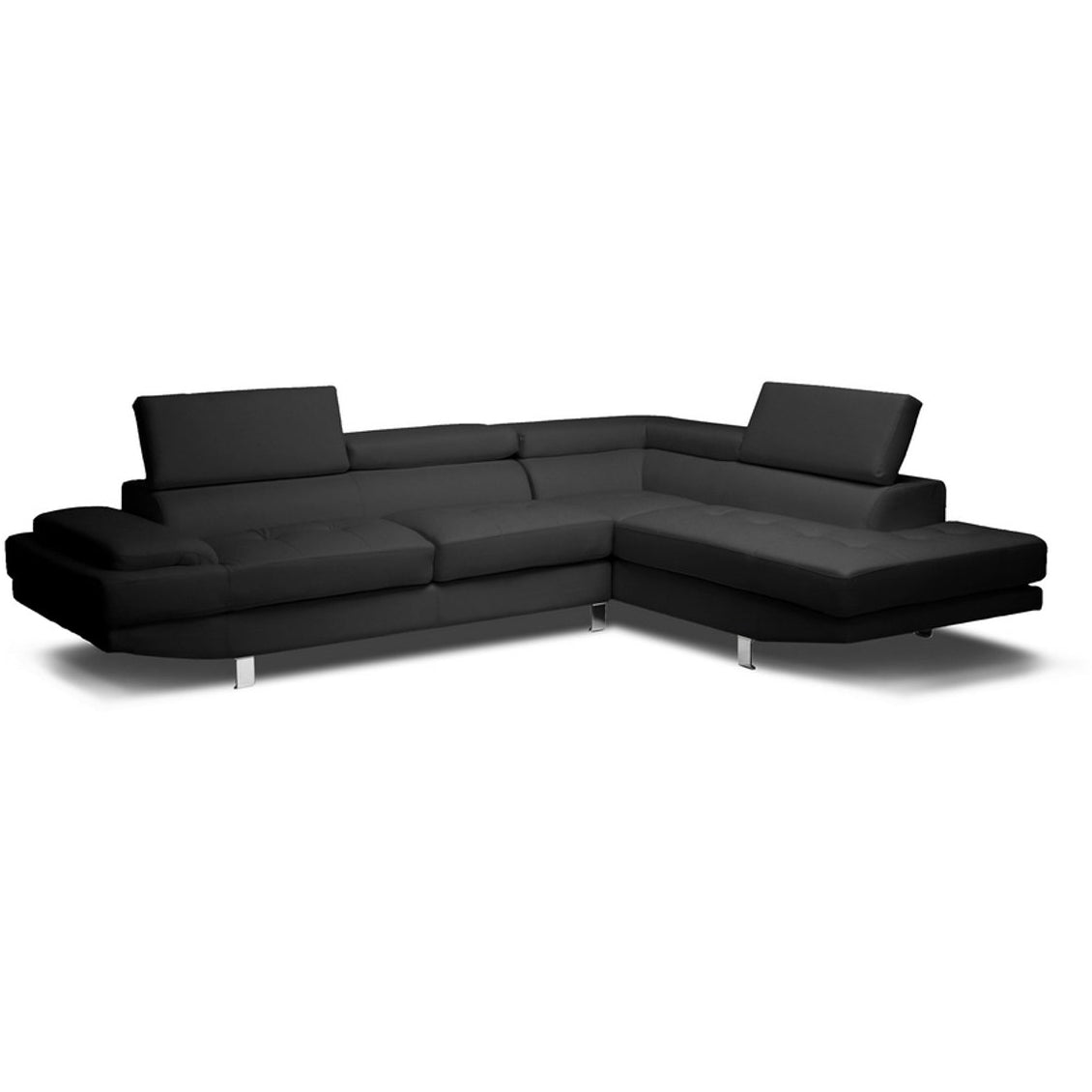 Baxton Studio Selma Black Leather Modern Sectional Sofa Baxton Studio-sectionals-Minimal And Modern - 1