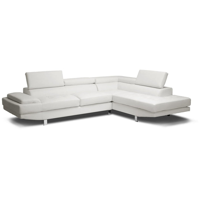 Baxton Studio Selma White Leather Modern Sectional Sofa Baxton Studio-sectionals-Minimal And Modern - 1