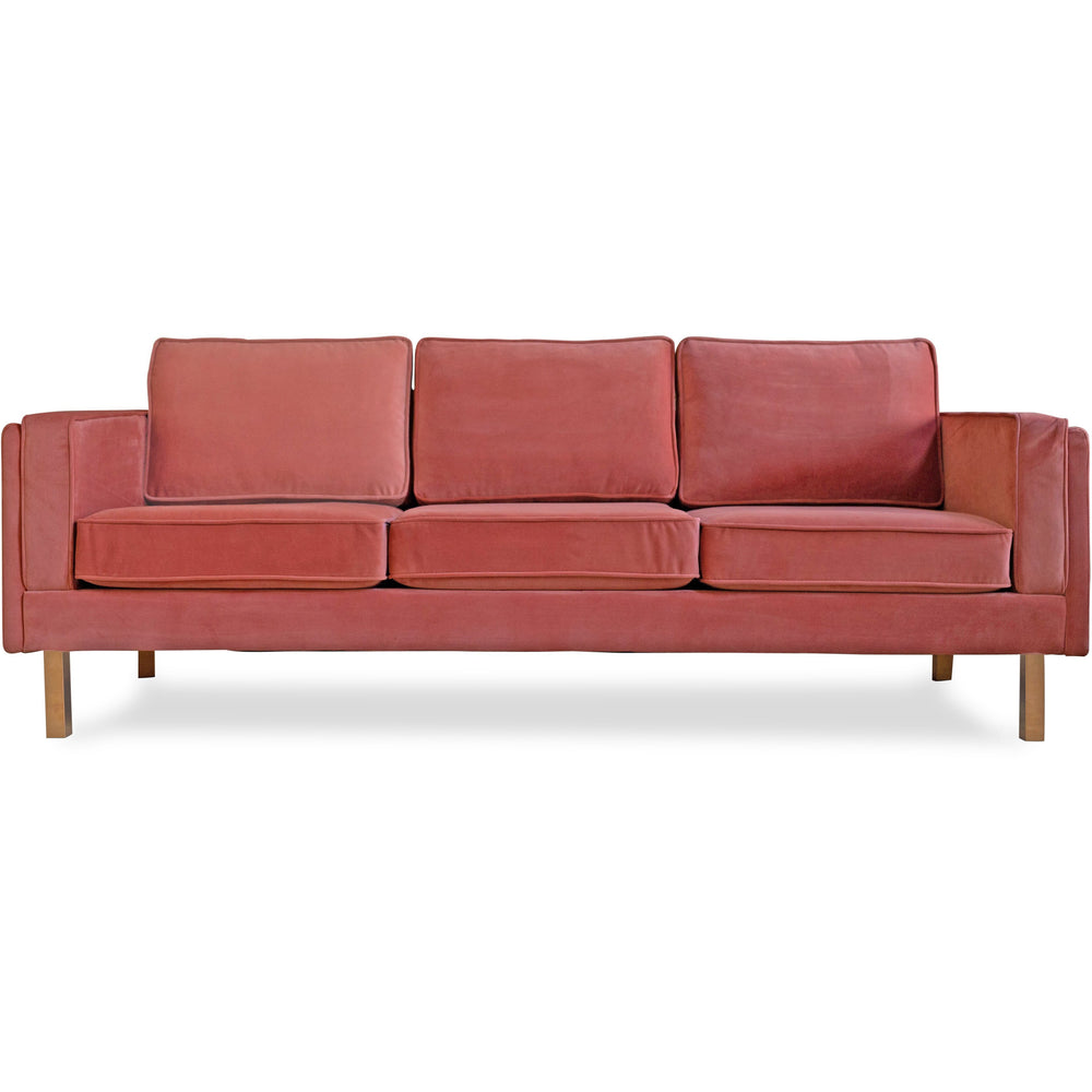 Edloe Finch Lexington Mid-Century Modern Velvet Sofa, Blush Pink Velvet