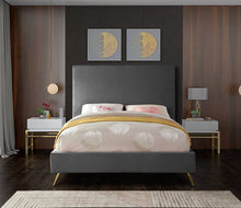 Meridian Furniture Jasmine Grey Velvet King Bed