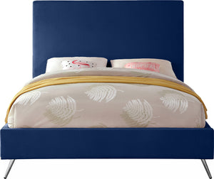 Meridian Furniture Jasmine Navy Velvet King Bed