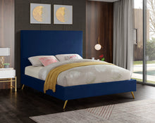 Meridian Furniture Jasmine Navy Velvet Queen Bed