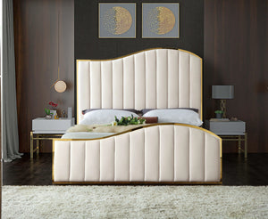 Meridian Furniture Jolie Cream Velvet Queen Bed