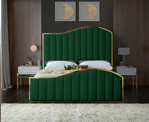 Meridian Furniture Jolie Green Velvet Queen Bed