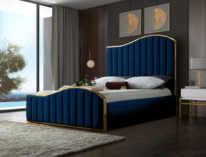 Meridian Furniture Jolie Navy Velvet King Bed