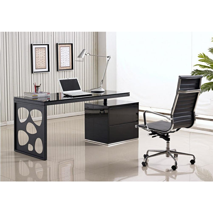 J&M Furniture Modern Black and Metal Contemporary Writing Computer Work KD01R Office Desk-Minimal & Modern