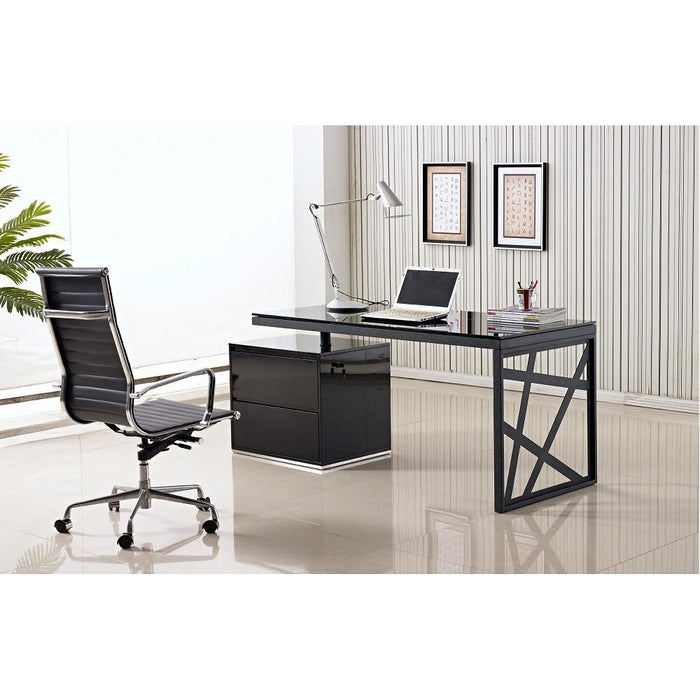 J&M Furniture Modern Black and Metal Contemporary Writing Computer Work KD01 Office Desk-Minimal & Modern