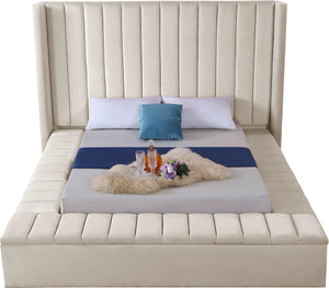 Meridian Furniture Kiki Cream Velvet Full Bed