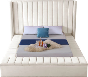 Meridian Furniture Kiki Cream Velvet Queen Bed