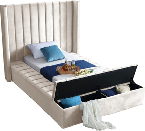 Meridian Furniture Kiki Cream Velvet Twin Bed
