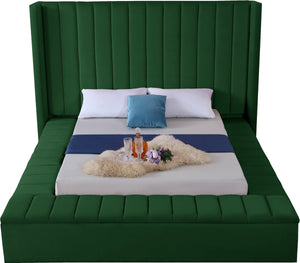 Meridian Furniture Kiki Green Velvet Full Bed