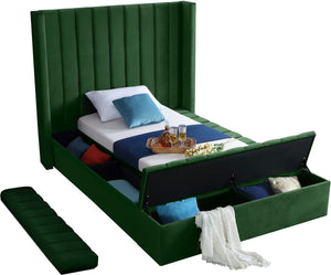 Meridian Furniture Kiki Green Velvet Twin Bed (3 Boxes)