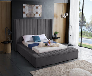 Meridian Furniture Kiki Grey Velvet Queen Bed