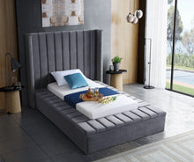 Meridian Furniture Kiki Grey Velvet Twin Bed