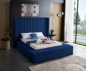 Meridian Furniture Kiki Navy Velvet King Bed