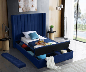 Meridian Furniture Kiki Navy Velvet Twin Bed (3 Boxes)