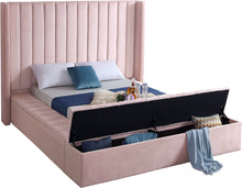 Meridian Furniture Kiki Pink Velvet Queen Bed