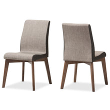 Baxton Studio Kimberly Mid-Century Modern Beige and Brown Fabric Dining Chair (Set of 2) Baxton Studio-dining chair-Minimal And Modern - 2
