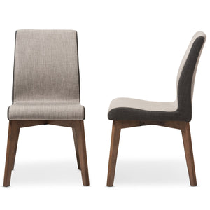 Baxton Studio Kimberly Mid-Century Modern Beige and Brown Fabric Dining Chair (Set of 2) Baxton Studio-dining chair-Minimal And Modern - 4