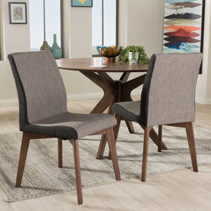 Baxton Studio Kimberly Mid-Century Modern Beige and Brown Fabric Dining Chair (Set of 2) Baxton Studio-dining chair-Minimal And Modern - 1