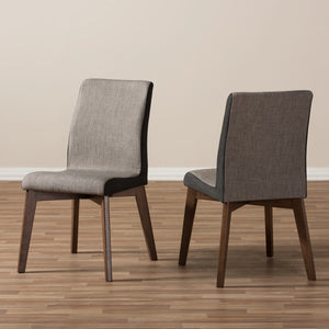 Baxton Studio Kimberly Mid-Century Modern Beige and Brown Fabric Dining Chair (Set of 2) Baxton Studio-dining chair-Minimal And Modern - 7