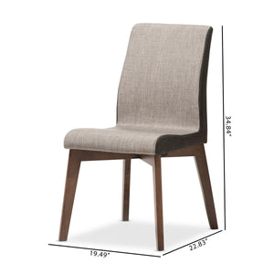 Baxton Studio Kimberly Mid-Century Modern Beige and Brown Fabric Dining Chair (Set of 2) Baxton Studio-dining chair-Minimal And Modern - 8